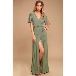 Lulu's - Much Obliged Olive Green Wrap Maxi Dress